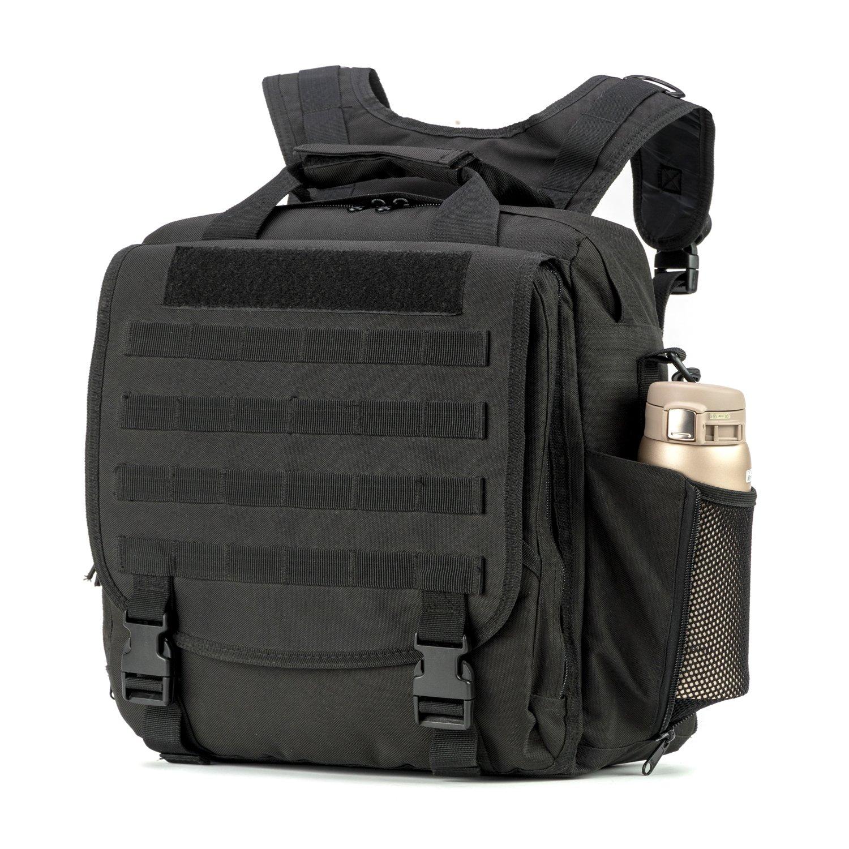 Military Laptop backpack tactical backpack Shoulder Bag Handbag with Molle System for Travel Work and Life (Black)