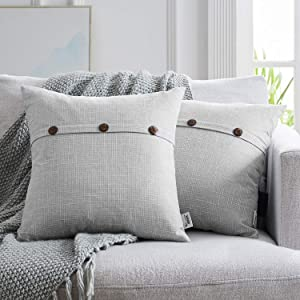 WESTERN HOME WH Set of 2 Farmhouse Throw Pillow Covers, Triple Button Vintage Cushion Covers, Farmhouse Pillow Covers for Couch Sofa Bed 18 x 18 Inch 45 x 45 cm, Light Grey