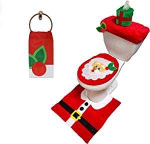Santa Claus Toilet Cover 5 Pieces Winter Cute 3D Theme Bathroom Decoration Set Includes Toilet Seat Cover, Rugs, Tank Cover, Toilet Paper Box Cover and Santa Towel for Xmas Indoor Décor, Party Favors