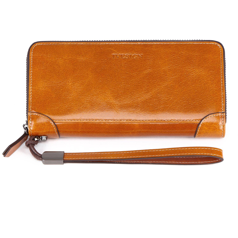IVESIGN Womens Genuine Leather Wristlet Zipper Clutch Wallet RFID Blocking Credit Card Phone Holder Hand Purse Large Capacity (B-Brown)