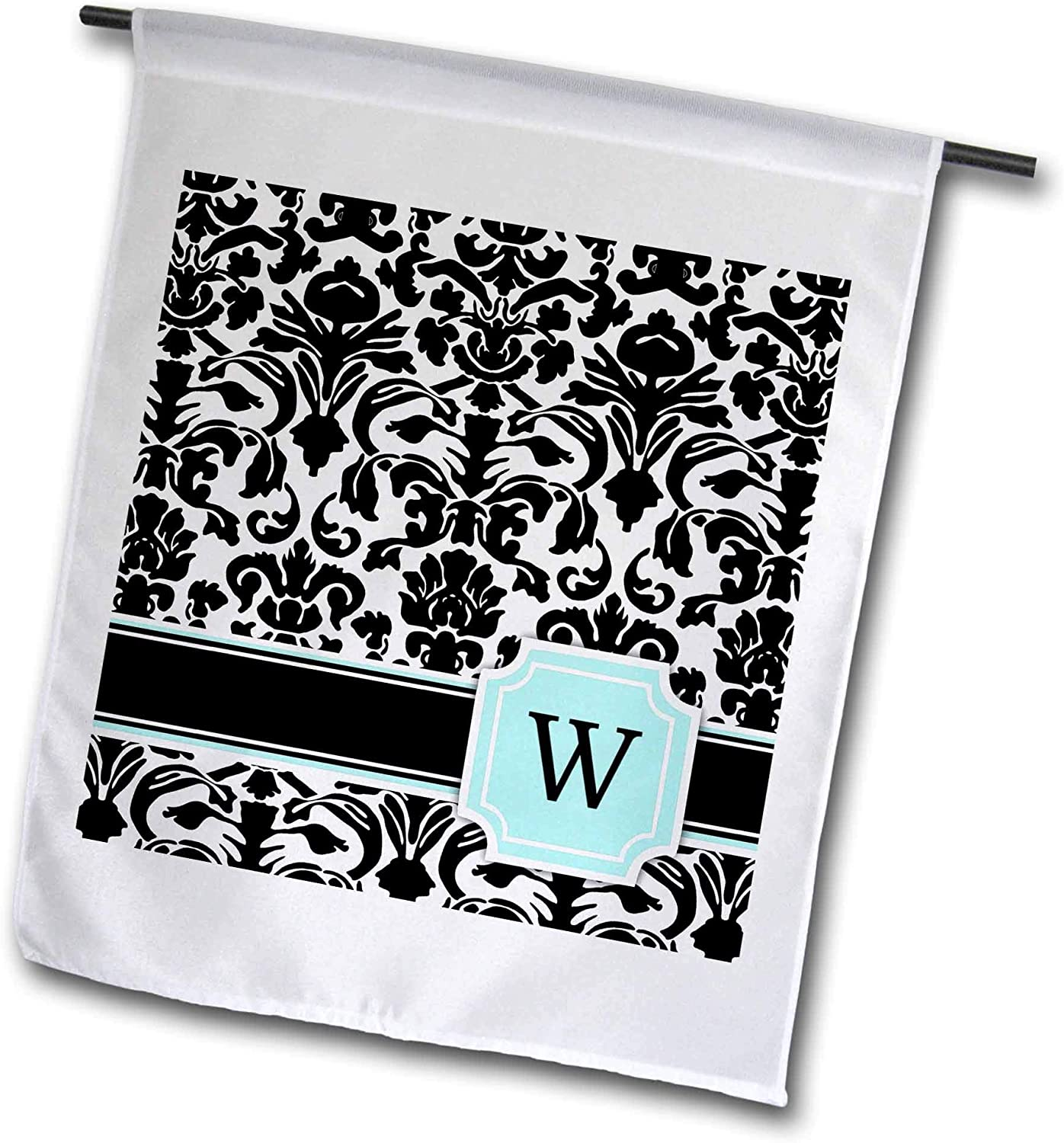 3dRose InspirationzStore Monograms - Letter W Personal Monogrammed Mint Blue Black and White Damask Pattern - Classy Personalized Initial - 12 x 18 inch Garden Flag (fl_154372_1)