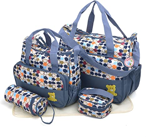 5pcs Baby Nappy Hospital Tote Handbag Polyester Maternity Baby Changing Bag Dot