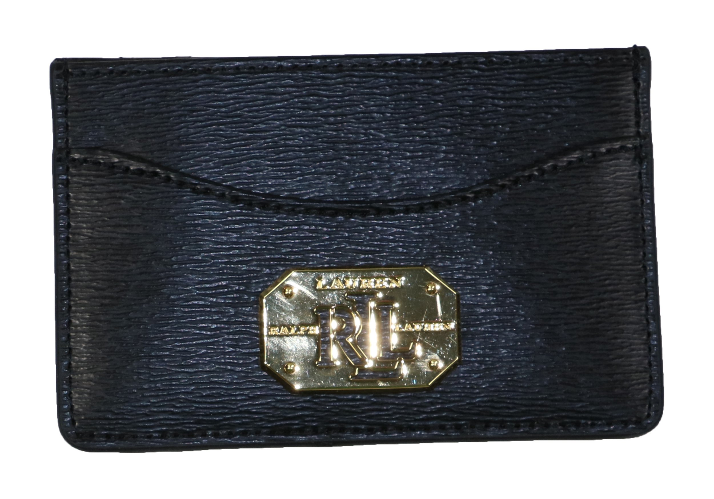 Ralph Lauren Newbury Mini Leather Credit Card Case Wallet (Black)