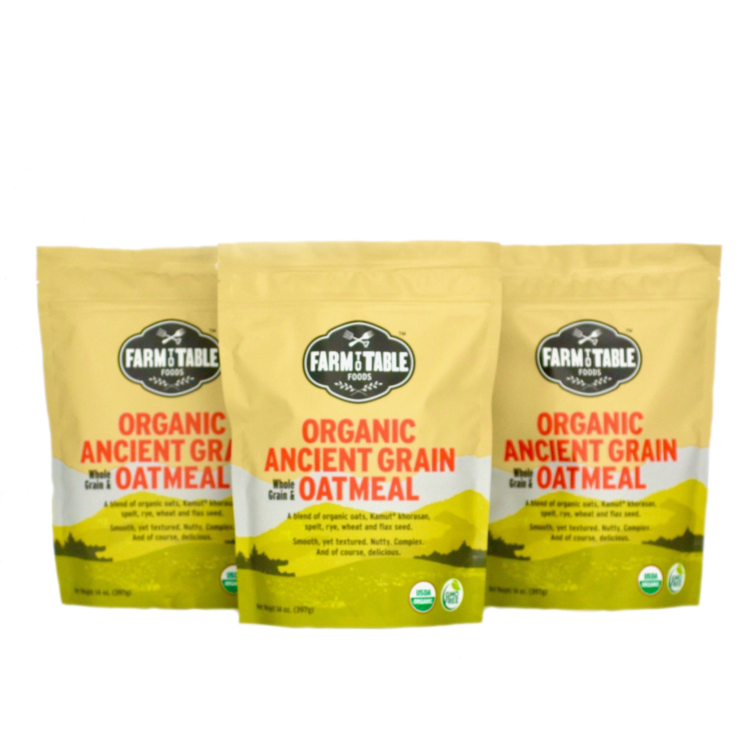 Farm to Table Foods (Organic Ancient Grain Oatmeal - 3-14 oz bags)