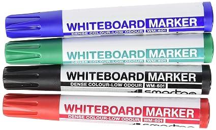SmartGo ASI500WM601 - Bolsa de 4 rotuladores de pizarra blanca, punta redonda 2 mm, color negro, azul, rojo y verde