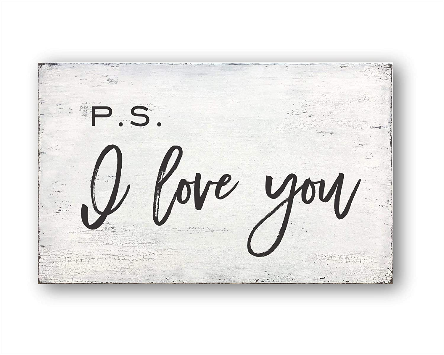 DKISEE P.S. I Love You, Housewarming Gift, Farmhouse Decor, Rustic Home Decor Decorative Wood Sign - Farmhouse Wall Decor 3.9x7.9 inches