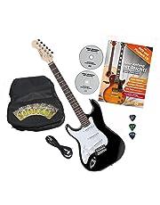 Rocktile Pro ST3-BK/RW-L Linkshänder E-Gitarre Black + Zubehör (Gitarre Gigbag Tasche, Kabel, Plektren, Gitarre Schule mit CD & DVD, Gitarrensaiten)