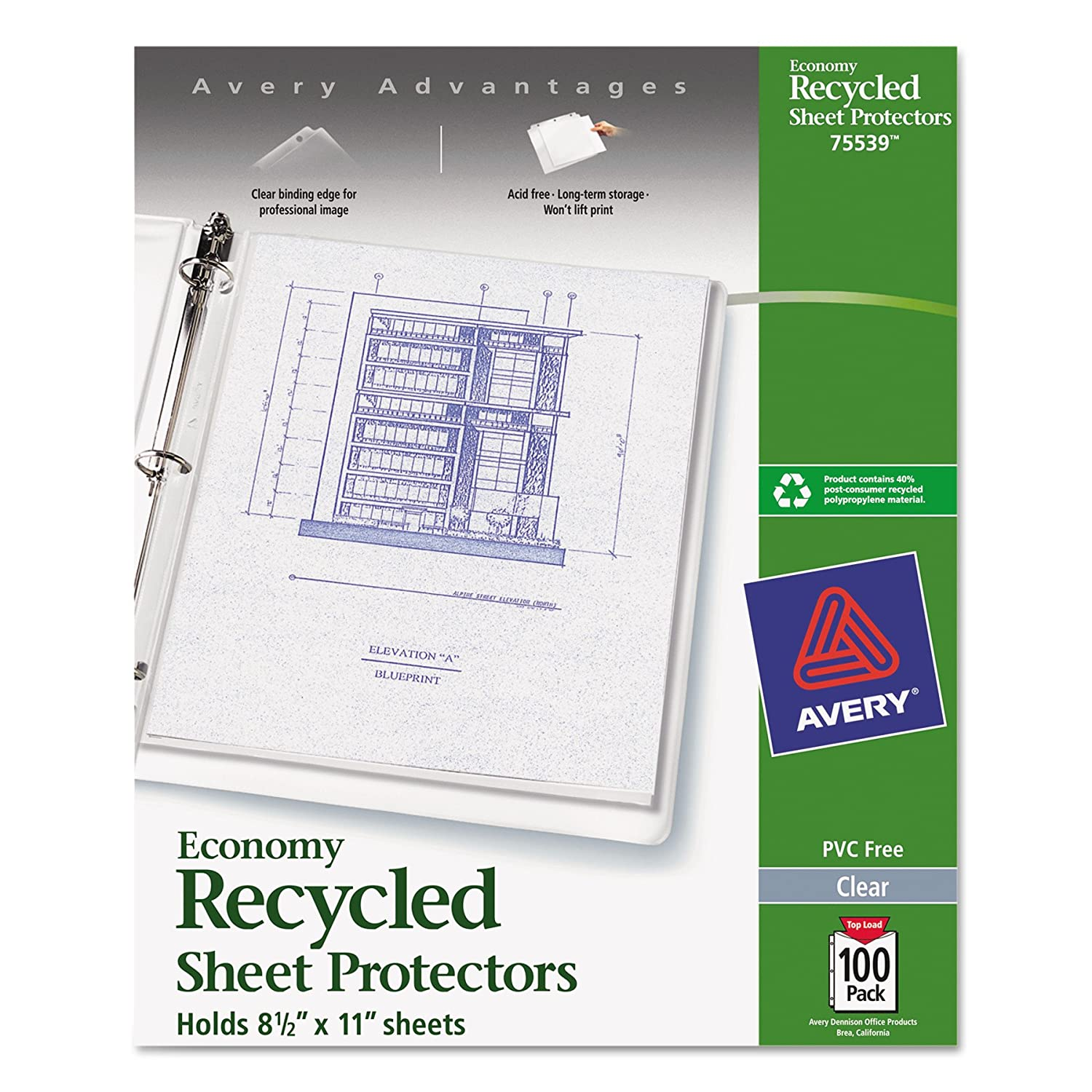 Amazon avery 75539 top load recycled polypropylene sheet amazon avery 75539 top load recycled polypropylene sheet protector clear box of 100 office products malvernweather Gallery