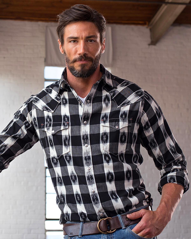 Ryan Michael Men's Ikat Gingham Shirt Black XXX-Large