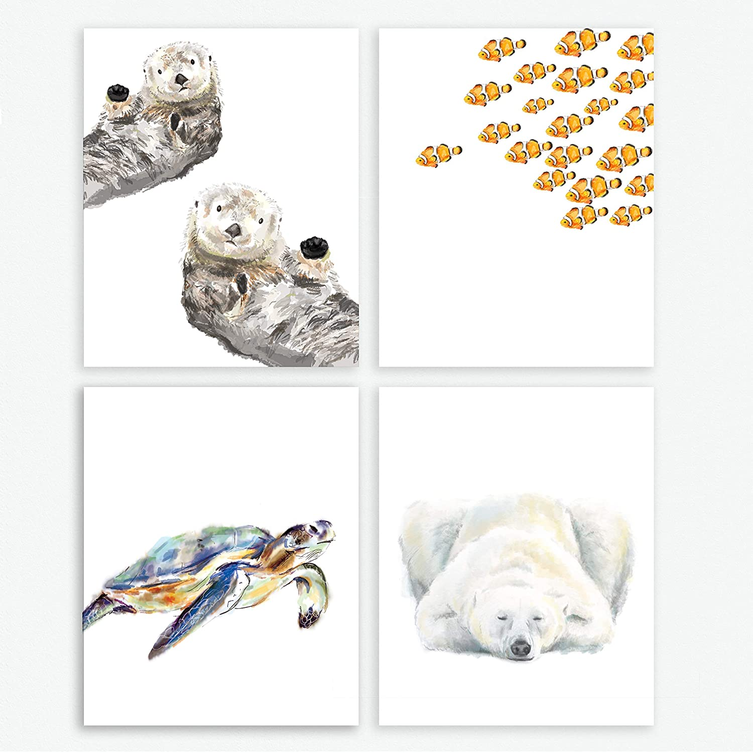 Marine Animal Themed Nursery Art Prints, Set of 4, Baby Animal Prints, Childrens Room Decor Wall Art, Baby Gender Neutral, Turtle Clownfish Sea Otter Polar Bear