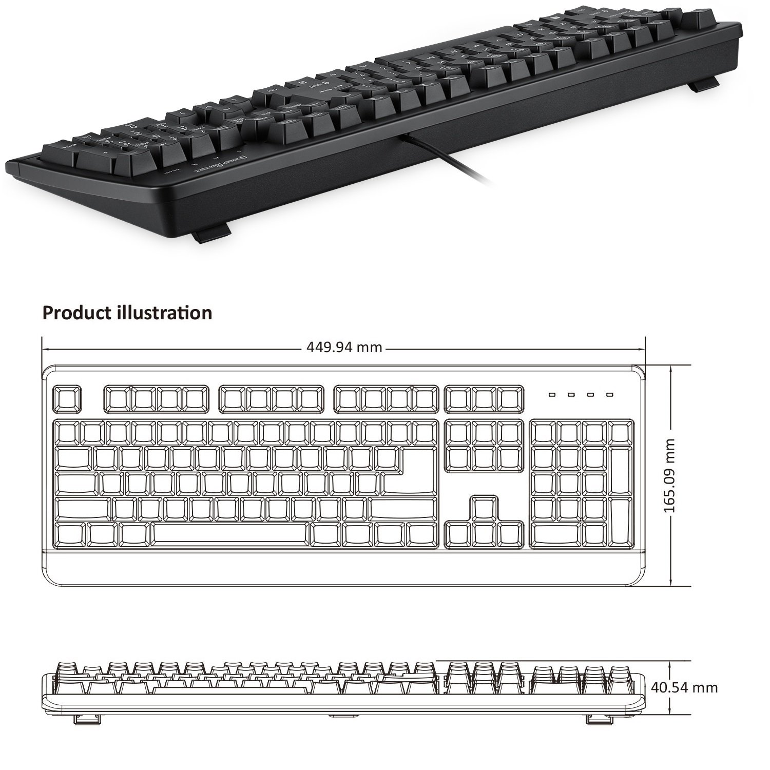 Perixx PERIBOARD-517 SGS Certified IP 65 Level US English Layout Fit with Medical and Industrial Environment Black Water Proof Keyboard