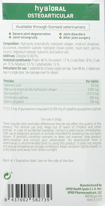 Opko Farmadiet Hyaloral Razas Grandes y Gigantes 10 Blísters con 12 Comprimidos - Total: 120 Comprimidos: Amazon.es: Productos para mascotas