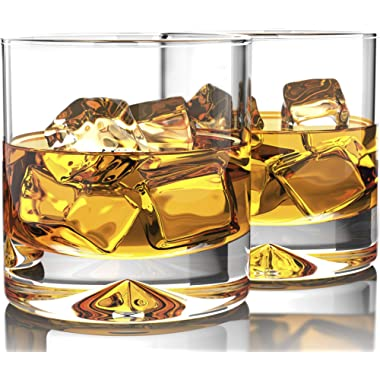 Premium Whiskey Glasses - Lead Free Hand Blown Crystal - Thick Weighted Bottom - 12oz Set of 2 - Seamless Design - Perfect for Scotch, Bourbon and Old Fashioned Cocktails