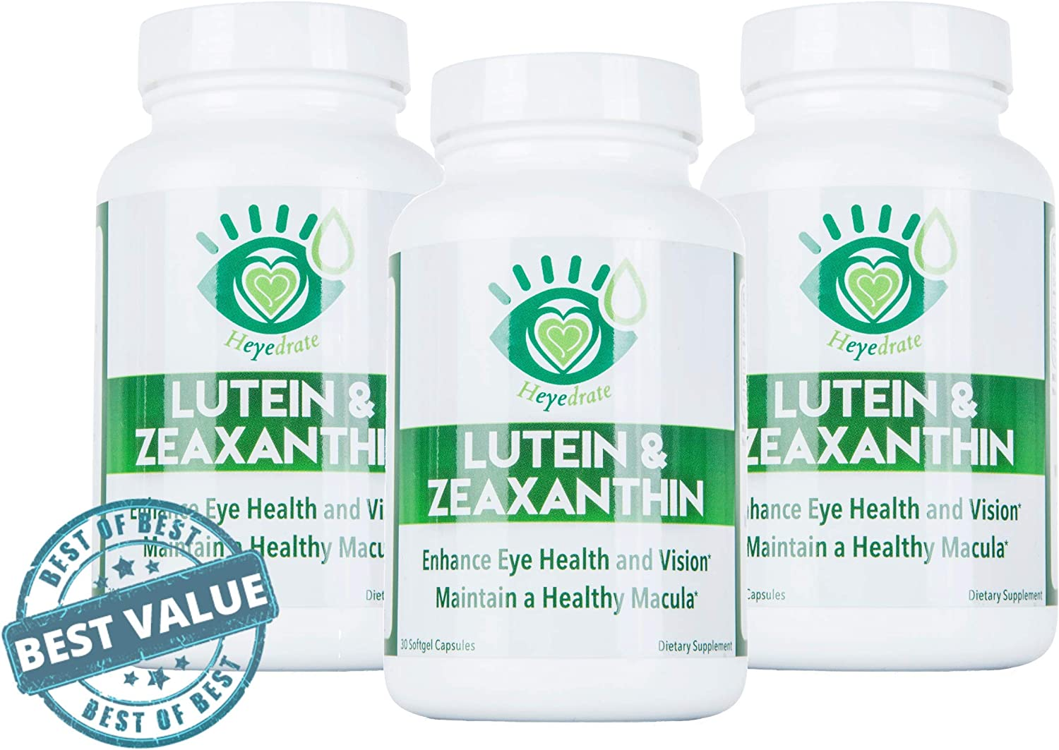 Lutein and Zeaxanthin Vision Supplement - Eye Vitamins to Enhance Eye Health, Vision, and Maintain a Healthy Macula and Retina, Non-GMO, No Soy or Gluten (3 Month Supply)