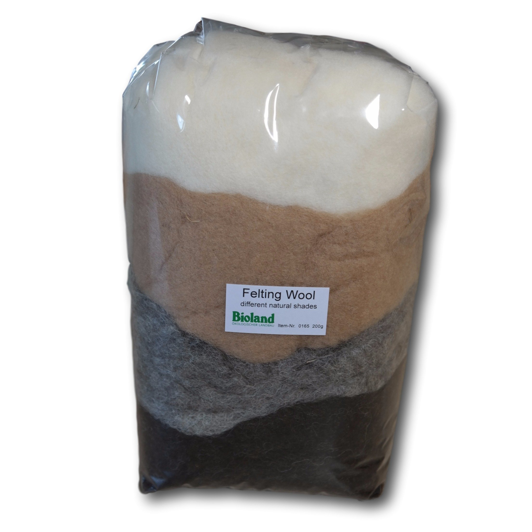 Certified Organic Bioland Felting Wool - Natural Shades 200 grams by Bioland