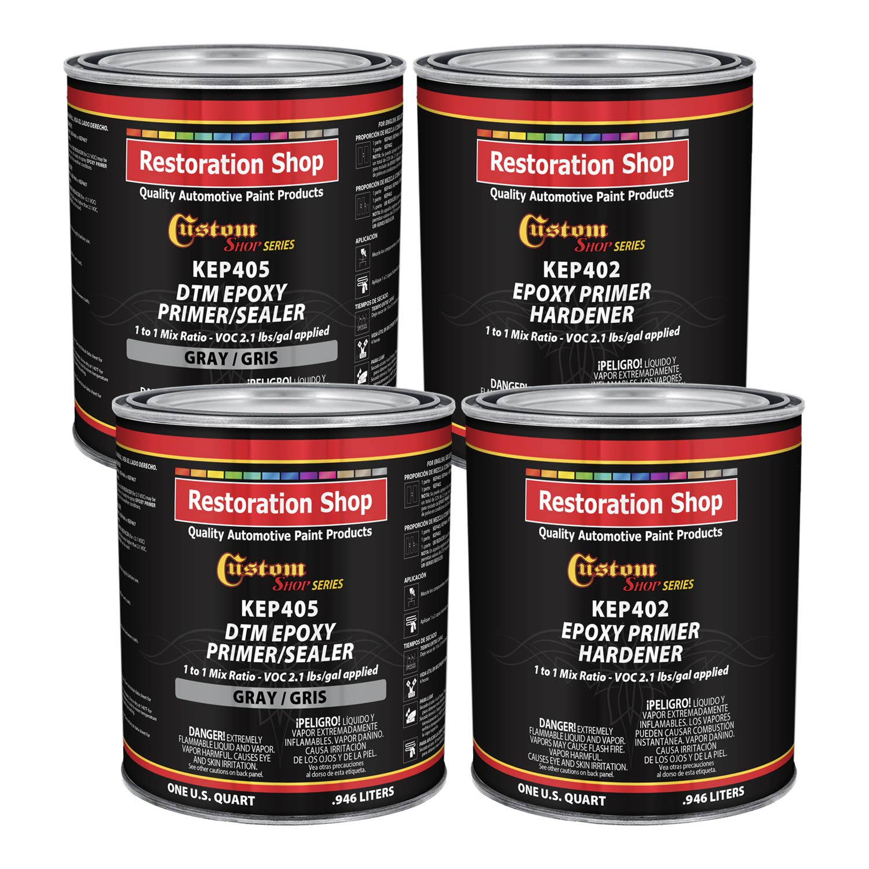 Custom Shop - Gray Epoxy Primer/Sealer 2.1 VOC (Gallon Kit) Anti-Corrosive DTM High-Performance Primer for Automotive and Industrial use Kit = 2 Qt. Epoxy Primer + 2 Qt. Epoxy Hardener (1-1 Mix)