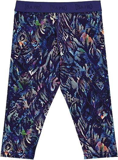 Kinder Mädchen Design Leggings Stretch Hosen  Capri Hose Blau 3//4