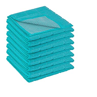 DecorRack 8 Pack Scrubbing Dish Cloths, Microfiber, 12 x 12 inch Kitchen Towel With Poly Scour Side, Perfect Cleaning Cloth for Washing Dishes, Kitchen, Bar, Counter and Car, Turquoise (Pack of 8)