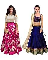 Market Magic World Girl's Pink & Blue Banglori Semi Stitched Combo Pack lehenga Choli, Salwar Suit, Gown (Kids Wear_Free Size_8-12 Year age)