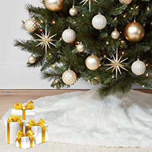 """KD KIDPAR 36"""" Faux Fur Christmas Tree Skirt(Snowy White) for Holiday Tree Decorations and Orname, Plush Soft Classic Fluffy Faux Fur Tree Skirt for Tree Décor"""
