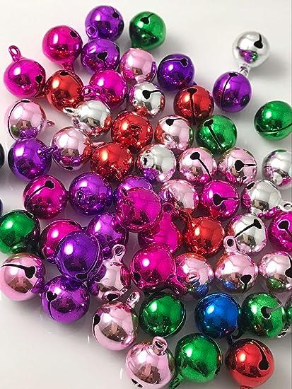 yaka 100pcs mix christmas jingle bells for craftsjewel tone aluminum bells xmas decorations - Jewel Colored Christmas Decorations