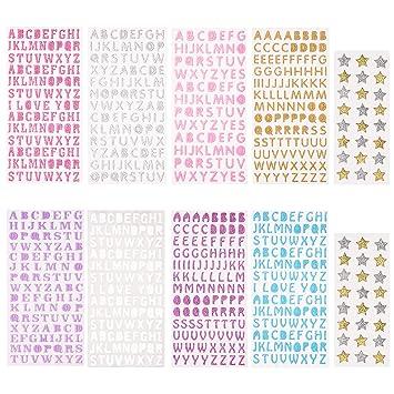 Sunmns - Adhesivo decorativo para alfabeto, diseño de letras con ...