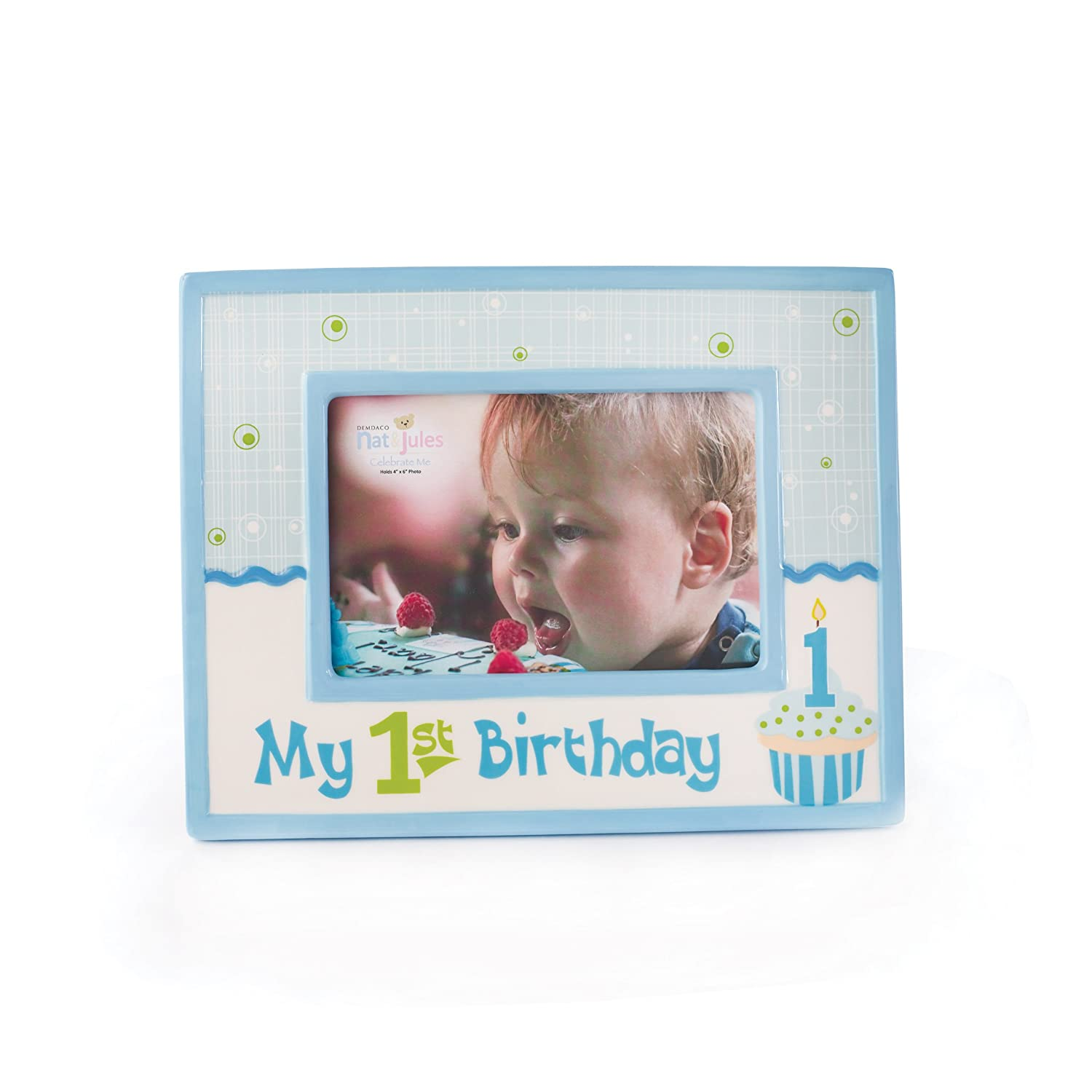 Amazon.com : Nat and Jules My First Birthday Frame, Blue ...