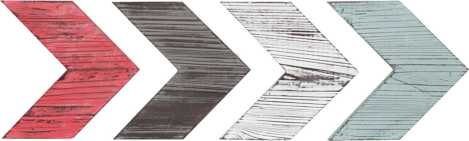 MyGift Decorative Multi Colored Rustic Wood Wall-Mounted Chevron Arrows, Set of 4