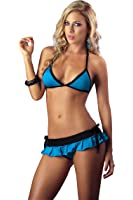 Mapalé by Espiral Women's Sexy Bra Top Pleated Mini Skirt and Rio Thong