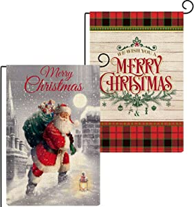 Baccessor Merry Christmas Garden Flag 12.5 x 18 Inch Bundle with Buffalo Plaid Small Yard Flag New Year Wooden Double Sided Winter House Holiday Outside Decoration