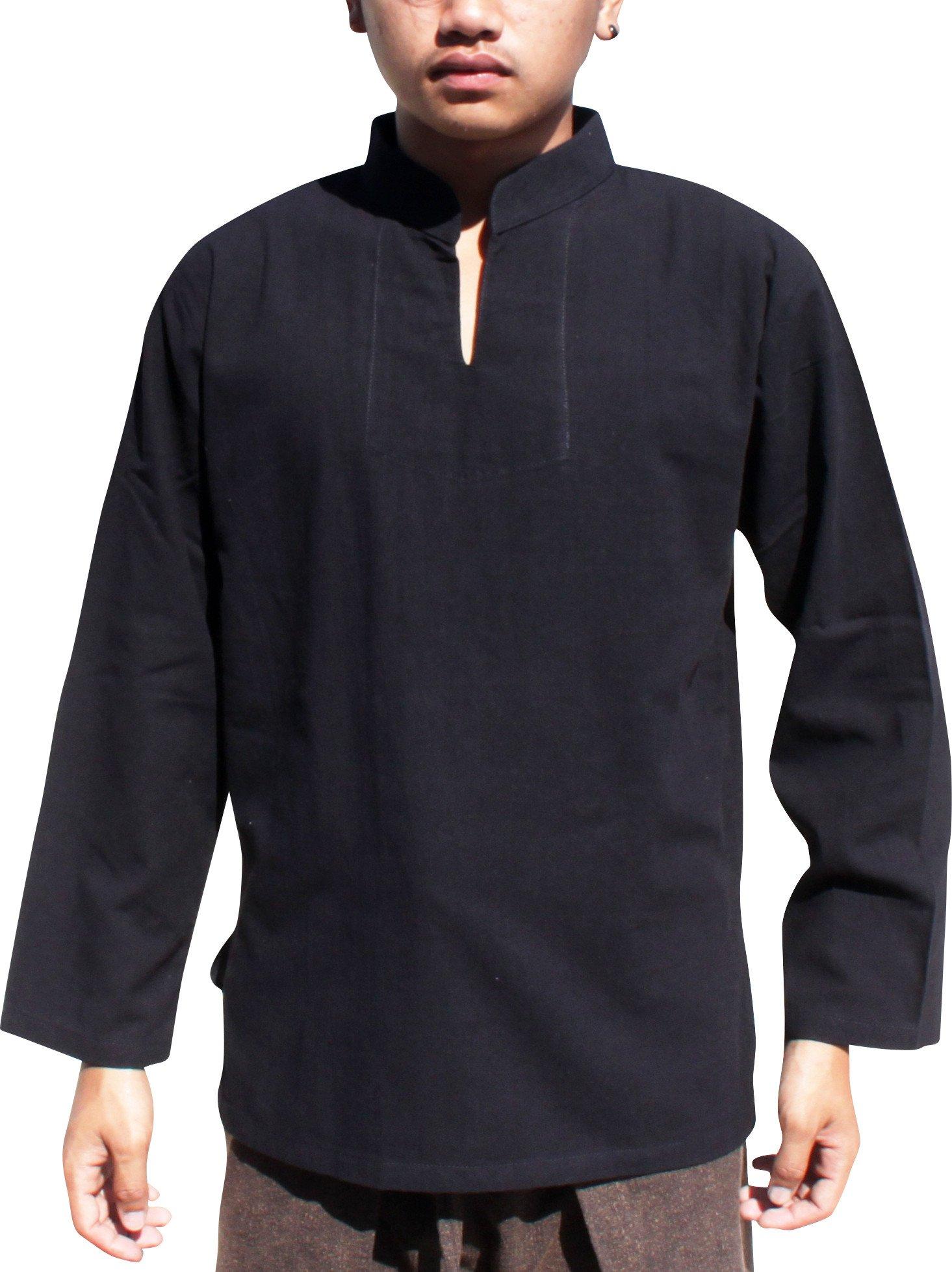 Raan Pah Muang RaanPahMuang Chinese Collar Long Sleeve Shirt YeapHai NonStandard Weave Cotton, Medium, Black