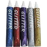 Asian Hobby Crafts OQ-VDDN-8LFS Glitter Sparkle Glue Tubes (25ml, Pack of 5)