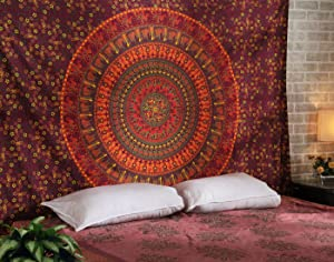 RAJRANG BRINGING RAJASTHAN TO YOU Colorful Hippie Tapestries - Elephant Mandala Tapestry Orange Bohemian Bedspread Ethnic Boho Dorm Decor Wall Hanging - Red - 84 X 54 Inches