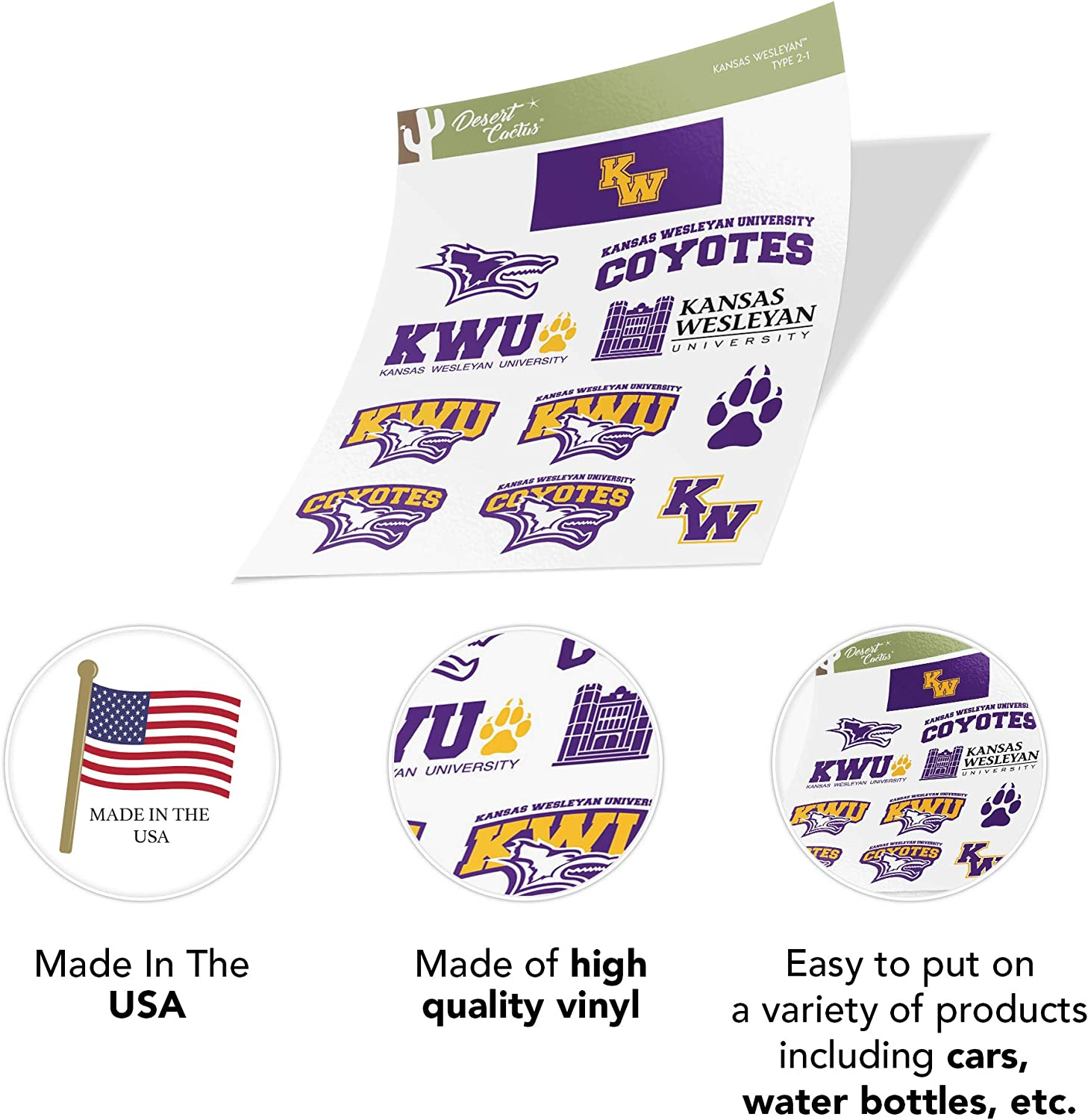 Sticker - 1 Kansas Wesleyan University KWU Coyotes NCAA Vinyl Decal Laptop Water Bottle Car Scrapbook