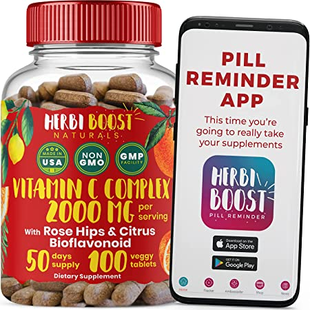 Vitamin C with Rose Hips 1000mg and Citrus Bioflavonoids ǀ Double Strength Immunity Booster, Collagen Support & Antioxidant Supplement ǀ 100 Pure Vitamina C 2000mg Tablets Non GMO & Veggie