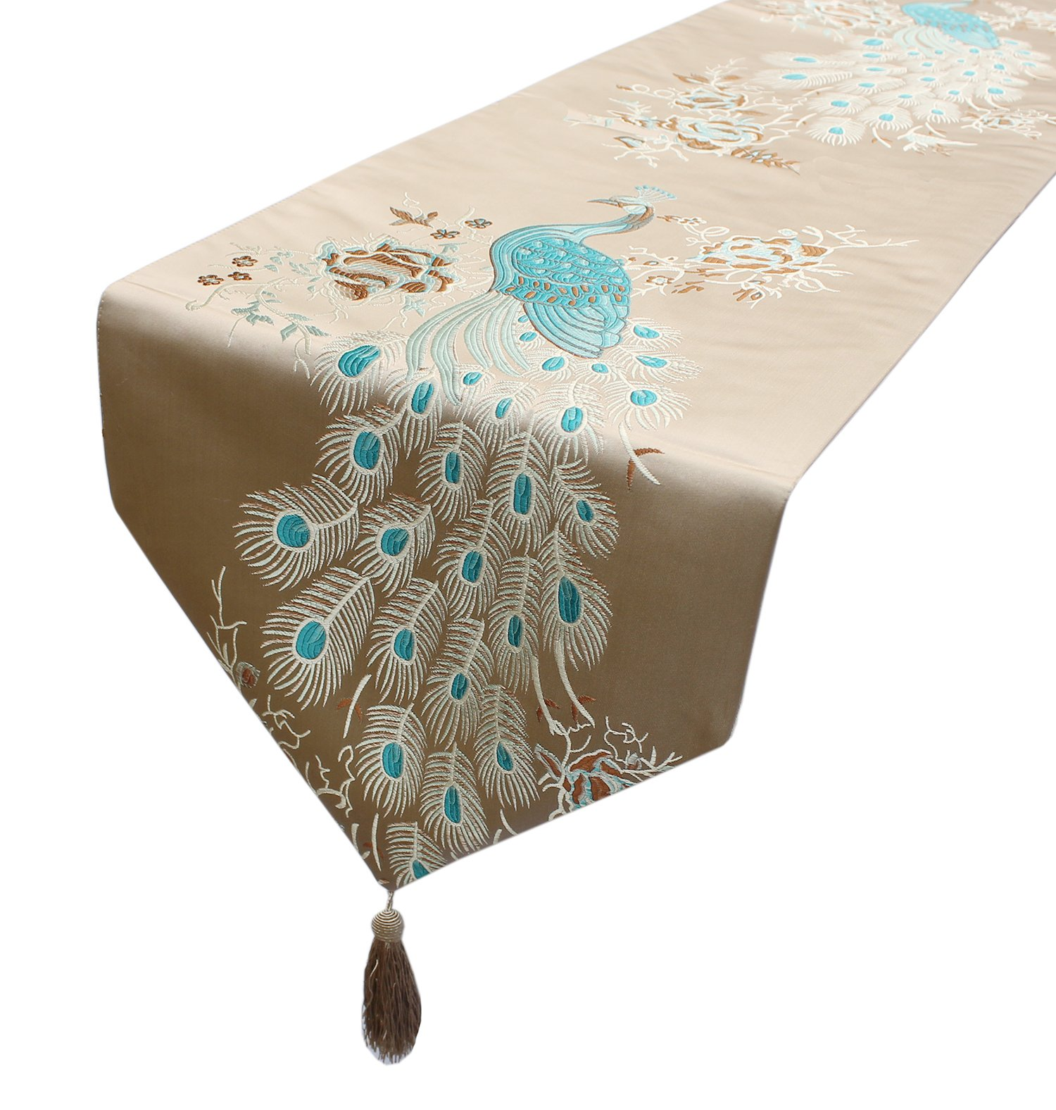 MAGILONA Tablecover Home Decorative Thanksgiving Satin Smooth Embroidered Peacock Floral Pattern Table Runner Kitchen Tassel Wedding Dining Party 13x83 In (Brown)