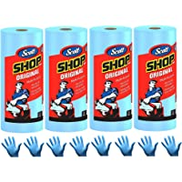 Scott Shop Towels, Strong and Absorbent Multi-Purpose Blue Disposable Towels, 55 Sheets per Roll, 4 Rolls (220 Sheets…