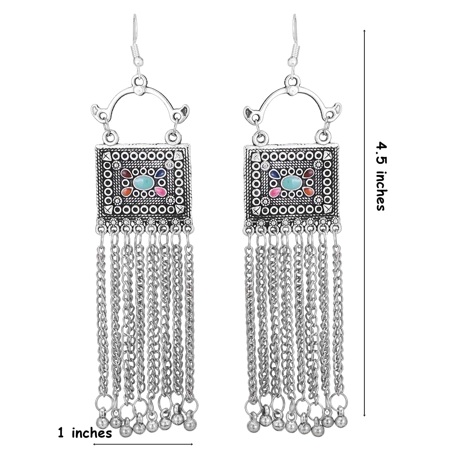 Jwellmart Afghani Bohemian Tribal Oxidized Drop Dangle Jhumka Indian Earrings for Women and Girls