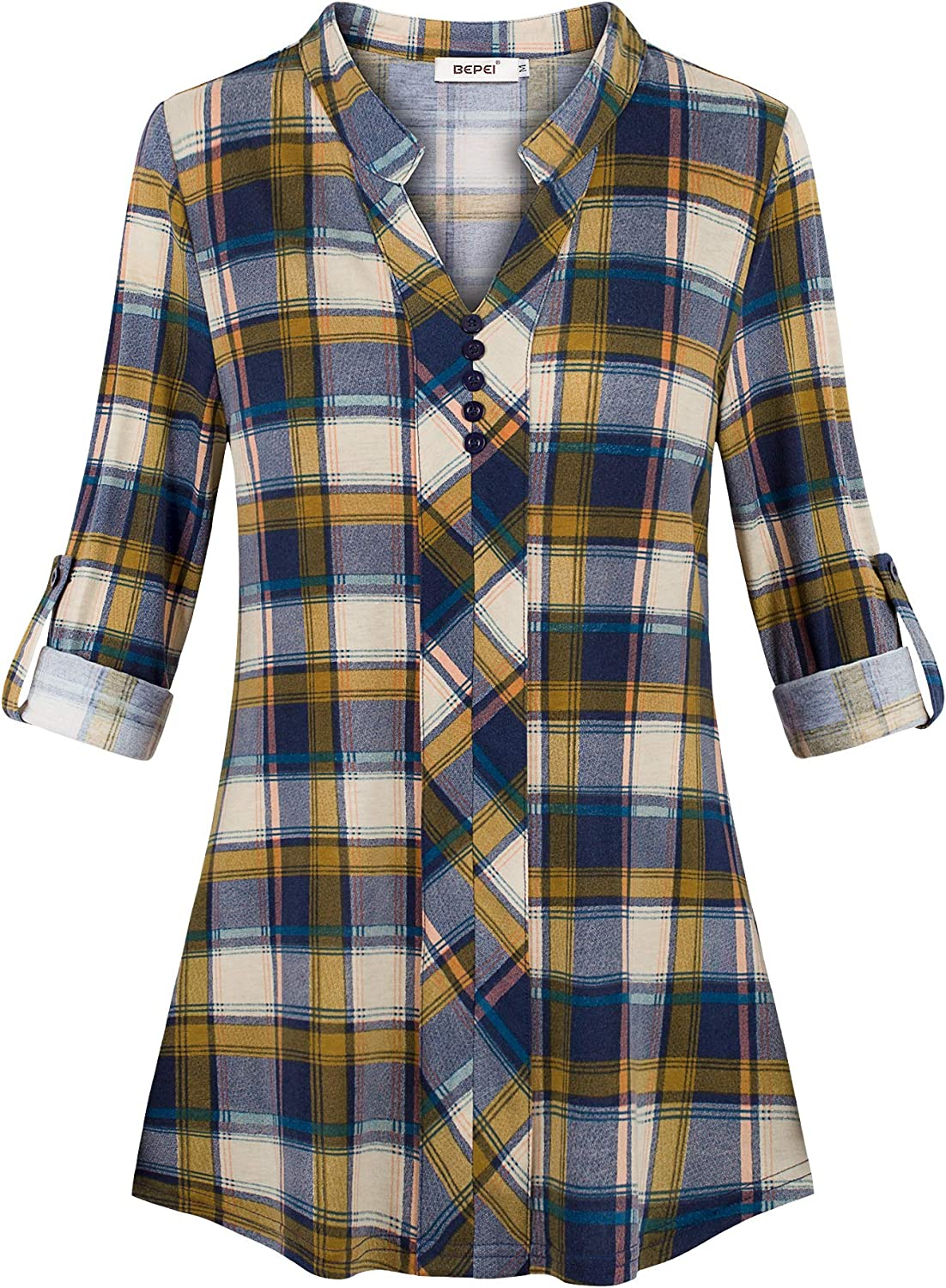 BEPEI Womens Roll-up 3/4 Long Sleeve Plaid Shirts Henley V Neck Casual Tunic Top: Clothing
