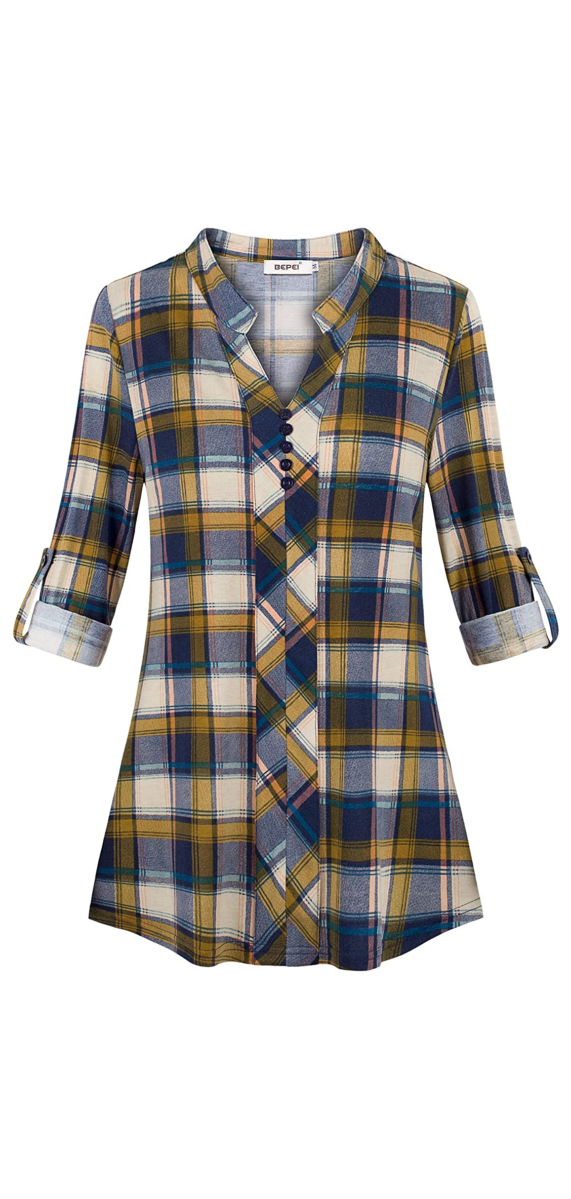 Womens Roll-up / Long Sleeve Plaid Shirts Henley V Neck