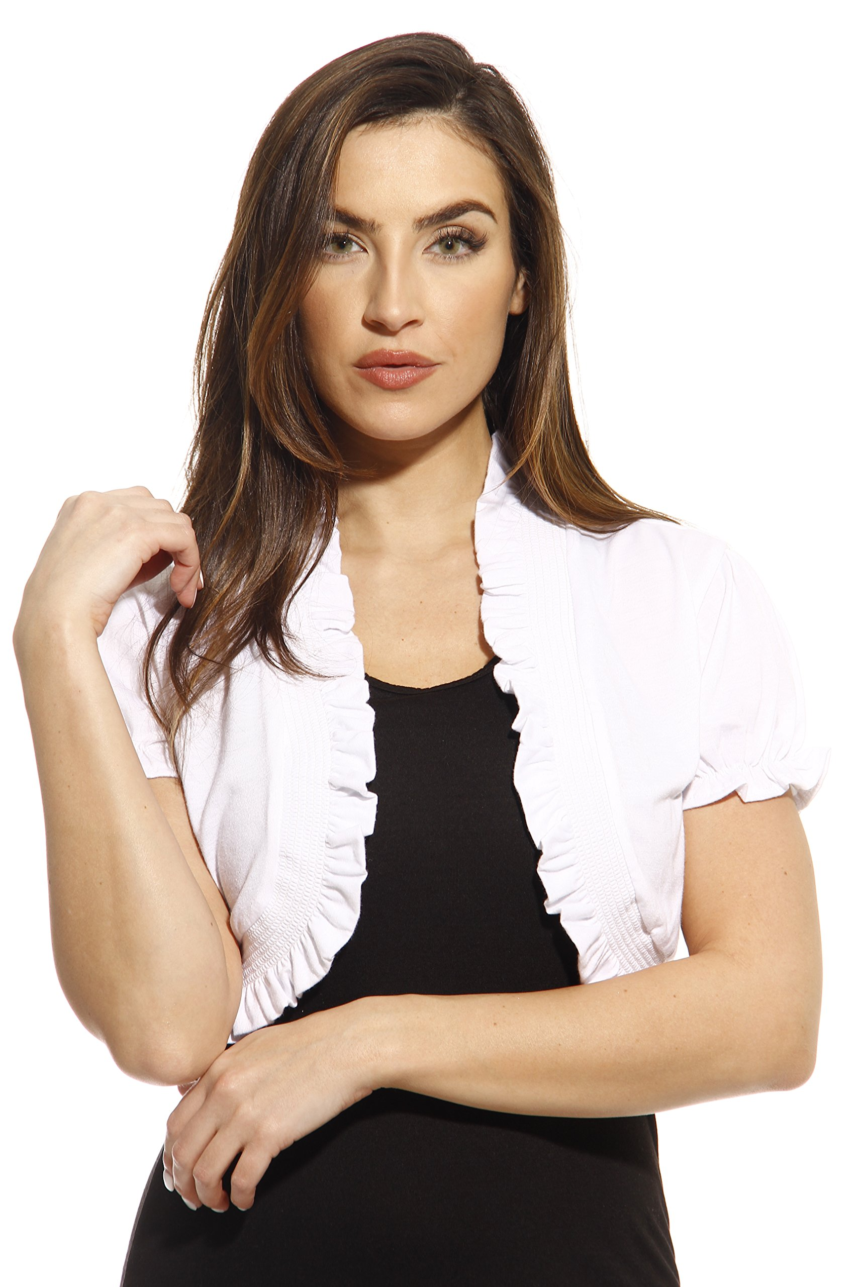 Just Love 2504-WHT-2X Plus Size Jersey Knit Shrug/Women Cardigan