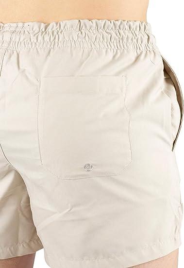 Beige Sik Silk de los Hombres Shorts de ba/ño est/ándar