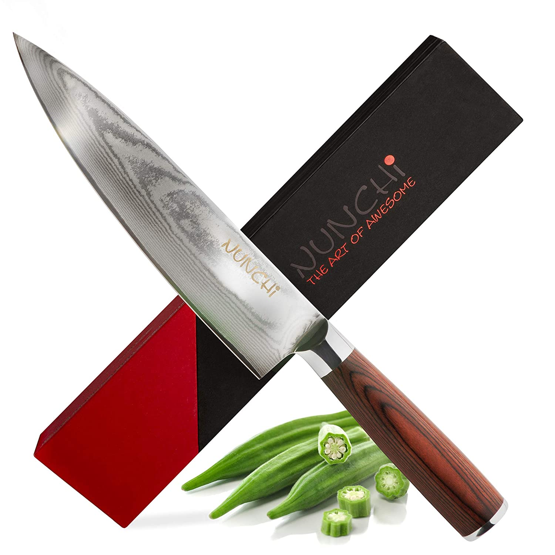 Amazon.com: Cuchillo de chef 8 inch japonés VG-10 damasco ...