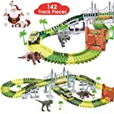BlueFire Dinosaur Race Track Dinosaur World Race Car Track Train Toys Create A Road Dinosaur Track Toys Playset with 142…