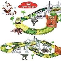BlueFire Dinosaur Race Track Dinosaur World Race Car Track Train Toys Create A Road Dinosaur Track Toys Playset with 142…