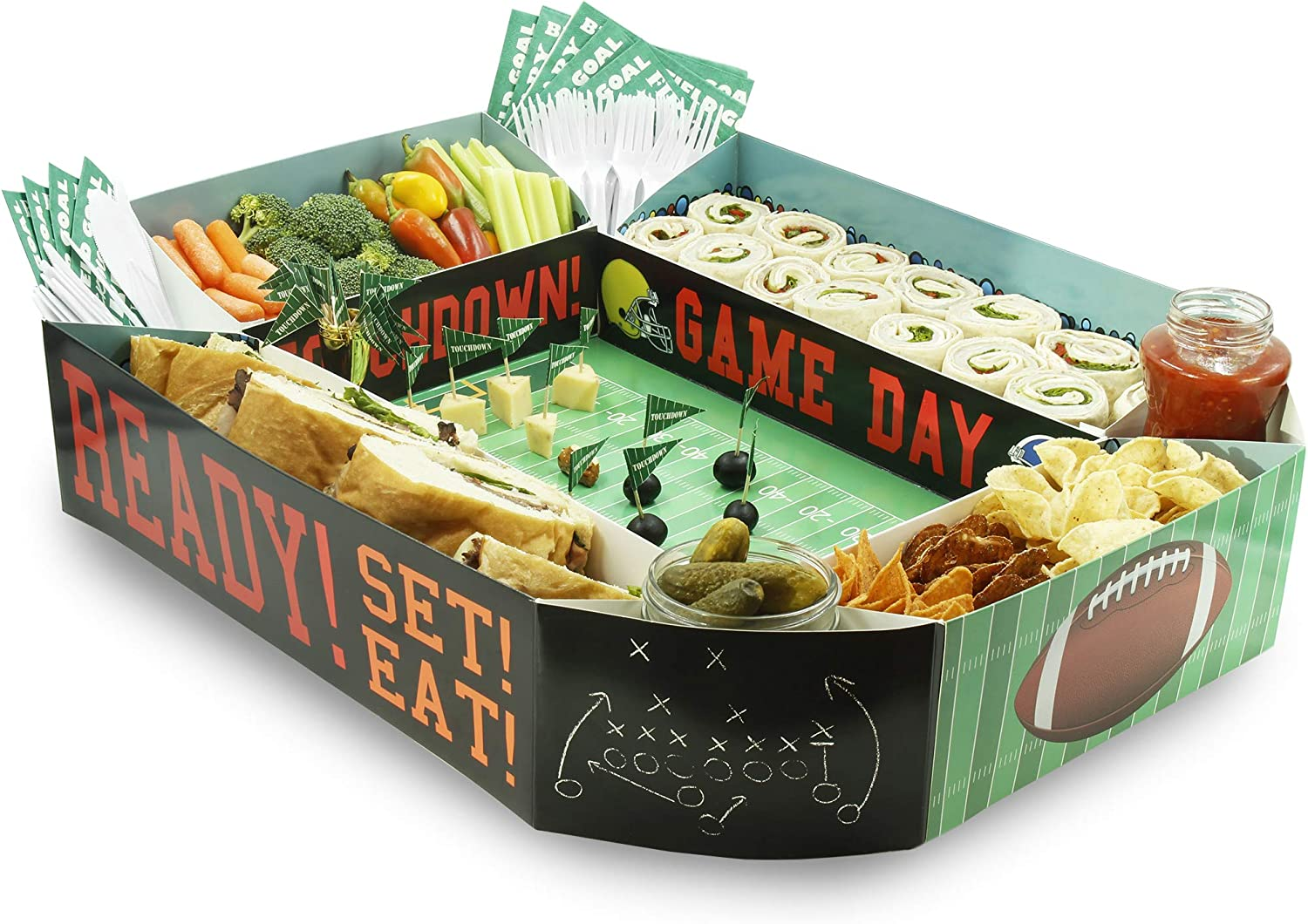 Sport Stadium Party Snack Tray for Football Party, Game Day (25 x 4.5 x 20.5 In)
