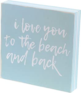 """Barnyard Designs I Love You to The Beach and Back Box Sign Decorative Wood Framed Plaque Beach House Home Decor 8"""" x 8"""""""