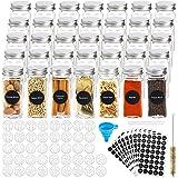 Hatoku 35 tarros de especias de cristal con 400 etiquetas de especias, botellas de especias cuadradas de 4 onzas con tapas de