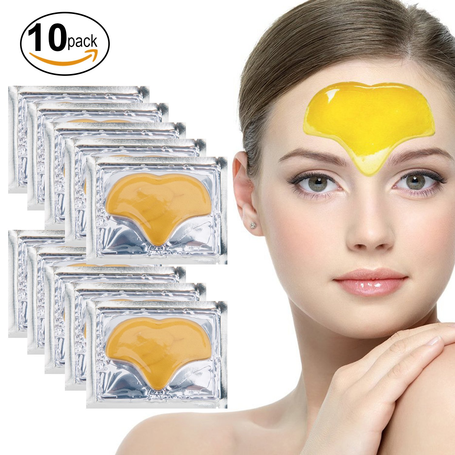 Set Kit of 10pcs 24K Gold Golden Collagen Gel Crystal Masks Forehead Patches for Wrinkles Removing, Frown Lines Reduction, Deep Skin Pores Cleansing, Blemishes Blackheads Removal and Hydration VAGASHOP