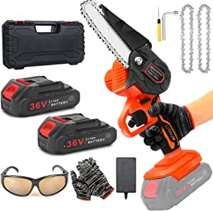 Mini Chainsaw Battery Powered with Security Lock, 4-Inch 21v Mini Electric Chain Saw Cordless, Handheld Mini Pruning Shears Small Chainsaw for Tree Trimming Wood Cutting